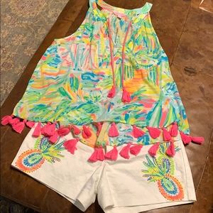Lilly Pulitzer Roxi top sea salt and sun